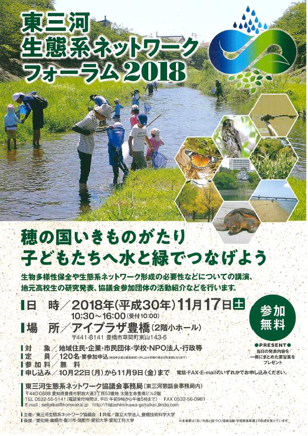 「東三河生態系ネットワークフォーラム2018」開催のお知らせ
